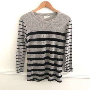 Madewell Small Black Gray striped linen top
